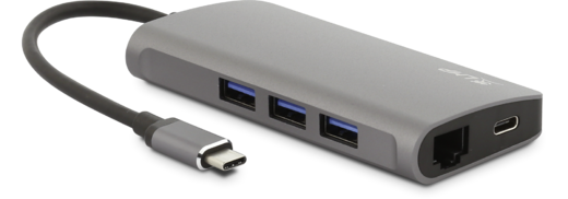 LMP USB-C Network Hub Gigabit Ethernet, 3x USB3.0 (1x 1,5A), USB-C (PD & data), space grey